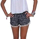 HANMAX Sommershorts Damen Mini Hotpants Boho Strandmode Badeshorts Bikinishorts Hotpants für Freizeit Party