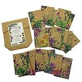 24 Adventskalender-Tütchen zum Selbstbefüllen aus braunem Packpapier, bedruckt mit wunderschönen bunten Pflanzenillustrationen und Nummern