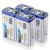 EBL 9V Li-Ionen Block Akku 6F22 Batterie 600mAh höchste Leistung Lithium-ionen Batterien, geringe Selbstentladung, mit Aufbewahrungsbox 4 Stück