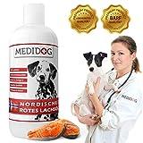 Medidog 1 Liter Rotes Premium Lachsöl für Hunde und Katzen reich an Omega-3 Fettsäuren EPA, DHA, ALA I Lachsöl Hunde kaltgepresst I Fischöl Hund, Barf Öl