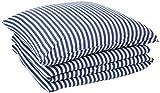 AmazonBasics - Bettwäsche-Set, Jersey, gestreift, 135 x 200 cm / 80 x 80 cm, Marineblau