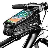 Cheftick Fahrrad Rahmentasche, wasserdichte Fahrradtasche, Fahrrad handyhalterung, Großer Stauraum Touchscreen-Handytasche mit Kopfhörereingang für jedes Smartphone bis zu 6,5 Zoll
