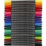 20 Textilmarker Stoffmalstifte Textil-Marker T-Shirt-Marker m. Doppelspitze