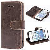 Mulbess Handyhülle für iPhone 5s Hülle Leder, iPhone 5s Handy Hüllen, Vintage Flip Handytasche Schutzhülle für iPhone SE 2016 / 5s / 5 Case, Kaffee Braun