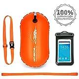 LimitlessXme Schwimmboje & Handytasche - 15l Orange. Sicherheit beim Schwimmen, Open Water und Triathlon. Swimming Buoy, Swim Bubble ✪ SCHWIMM BOJE AUFBLASBAR ✪