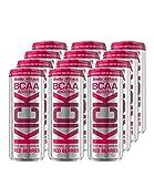 Body Attack BCAA KICK, BCAA Drink mit Aminosäuren, Koffein, vegan, Red Berries (12x 330ml + Pfand (12x 0,25€))