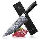TURWHO Damaskus Kochmesser, 8 Inch Japanisches 67-Layer-VG-10 Damaskus Stahl Professionelles Küchenkochmesser