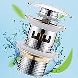 Universal Ablaufgarnitur mit Überlauf für Waschbecken & Waschtisch Chrom Pop Up Ventil Ablaufventil Ablaufgarnitur aus Messing von JTENG - Einfache Installation ohne Werkzeug (Silber)