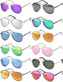 Hatstar Pilotenbrille Verspiegelt Fliegerbrille Sonnenbrille Pornobrille Brille mit Federscharnier (92 | Rahmen Schwarz MATT - Orange verspiegelt)
