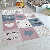 Paco Home Kinderteppich Kinderzimmer Mädchen Waschbar Herzen Sterne Mond Spruch Rosa Grau, Grösse:140x200 cm