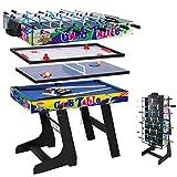YP HLC 107 * 60 * 83 cm Zusammenklappbar 4 in 1 multifunkniertes Tischspiel - Tischfußball(Tischkiker)/Tischtennis/Air Hockey/Billard-Tisch