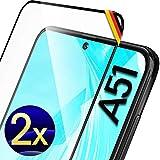 UTECTION 2X Full Screen Schutzglas für Samsung Galaxy A51 2020 - Fingerabdrucksensor kompatibel - 3D Schutzfolie gegen Displayschäden, Passgenaue Schutzglasfolie 9H Displayschutzfolie Glas