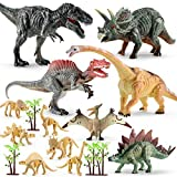 Dino Figur 16pcs Dinosaurier Spielzeug Set mit Fossilien Skelett Figuren Spiel für Kinder Geburtstag Party Dekoration (7-15cm)