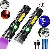 UV Taschenlampen mit 395nm UV Lampe (mit 3000mAh 18650 Akku), Magnet Taschenlampe LED USB Aufladbar, iToncs Wasserdicht COB Taktische Taschenlampe, Schwarzlicht für Banknoten, Urin von Haustiere