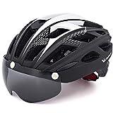 VICTGOAL Fahrradhelm Mountainbike Helm mit Abnehmbarer Magnetischen Schutzbrille Urban Helmet Road MTB Helm für Unisex Erwachsene Atmungsaktiver Fahrradhelm (Schwarz)
