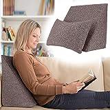 Selfitex praktisches Keilkissen, Lesekissen, Rückenstütze, ergonomische Form (50x40 cm Höhe 25 cm), inklusive Relaxkissen, Sofakissen, Wellness-Kissen 2er Set für Bett/Sofa/Couch (Braun)