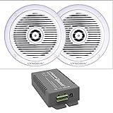 Lyndahl Lautsprecher-Set, Bluetooth Verstärker 4 Kanal CS200BT-AMP und 2-Wege Einbaulautsprecher CS180IP 2 oder 4 Deckenlautsprecher für Feuchträume Badezimmer mit 2 Lautsprechern