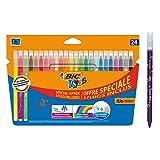 BIC Kids Fasermaler Kid Couleur Set, 24 auswaschbare Kinder-Filzstifte, Inkl. Neonfarben, Ab 5 Jahre