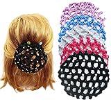 YouU 5 Stück Dutt Netz Haarnetz Bun Frisurenhilfe Stoff Knotennetz für Gymnastik Rhythmische Sportgymnastik Ballett Reiten Eiskunstlauf Tanz Knotennetz(mit Strass)