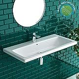 Alpenberger Nano-Beschichtung Handwaschbecken aus hochwertiger Keramik 90 X 45 cm mit Überlauf inkl. | Waschschale für Gästebad-Badezimmer | Lotuseffekt Waschtisch inkl. Befestigungselemente