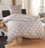 Bettwäsche Microfaser Bettbezug 135x200 Sterne Kissenbezug Grau Taupe Silber, Farbe:Taupe