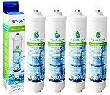 4x AquaHouse AH-UIF Kompatibel Universal Kühlschrank Wasserfilter passt für Samsung LG Daewoo Rangemaster Beko Haier usw. Kühlschrank Gefrierschrank