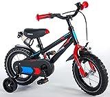 L&E 12 Zoll Fahrrad mit Rücktritt und Stützräder Kinderfahrrad Jungen schwarz 81201