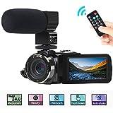Camcorder Videokamera, ACTITOP FHD 1080P 30FPS 30MP IR Nachtsicht YouTube Vlogging-Kamera 3'Touchscreen Digitalcamcorder mit Mikrofon, Fernbedienung, 2 Batterien