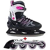 Cox Swain 2 in 1 Kinder Skates-/Schlittschuh -Joy- LED Leuchtrollen, ABEC 7 Carbon Lager, Schwarz/Pink, M (37-40)