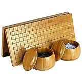 ADLOASHLOU Go-Spiel Faltbar, 0.8-Zol Bambus Go Schachbrett Go Pieces Faltbarer Portable Suit,19 x 19 Inklusive Schalen und Stücken,2 Spieler klassisches Strategie-Brettspiel-44x47cm