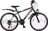 24 Zoll Mädchenfahrrad Kinderfahrrad Mädchen MTB Mountainbike Mädchenrad FEDERGABEL JUGENDFAHRRAD Kinder Jugend Fahrrad Bike Rad Escape Schwarz Pink TYT19-023