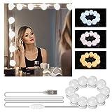 LED Spiegelleuchte, mixigoo Hollywood Stil Schminklicht 10 Dimmbar 7000K Spiegellampe mit 3 Farbmodi Schminktisch Leuchte, Schminkleuchte, Make Up Licht für Kosmetikspiegel/Badzimmer Spiegel
