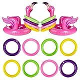 Czemo Ringwurfspiel Aufblasbare Flamingo Wurfspiel Pool Spielzeug Indoor Spiele Partyhüte Eltern Kinder Partyspiele mit Ringe für Sommer Hawaii Kindergeburtstag Party