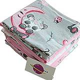 Babymajawelt® Moltontücher SOFT - Flanellwindeln Weiss / Bunt Mix 70x80 cm, Schnuffeltuch Schmusetuch Spucktücher, Wickelunterlage ( Mädchen 5 Pack)