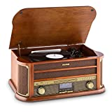 auna Belle Epoque 1908 - Retroanlage, Plattenspieler, Stereoanlage, Digitalradio, DAB+, Plattenspieler, Radio-Tuner, Bluetooth, CD-Player, MP3-fähig, RDS, Kassettendeck, USB-Port, braun