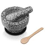 OLIDAN - Granit Mörser mit Stößel im Set mit schützender Unterlage, Holzlöffel und kostenfreiem E-Book - Mörser und Stößel sind aus massivem und geschmacksneutralen Granit - Gewürz Mörser