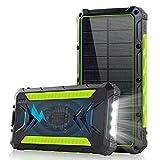 Solar Powerbank,20000mAh Qi Wireloess Ladegerät Tragbare Powerbank Externer Akku mit 3 Ausgänge 5V/3A Schnelle Geschwindigkeit&4 LED Taschenlampen Riesige Kapazität Ladegerät für iOS Android