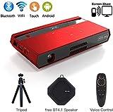 Mini Beamer DLP Projektor Unterstützt Full HD 1080P ,Tragbarer Pocket Projector LED 150 ANSI Lumens ,mit 4100mAH Wiederaufladbar Heimkino Projektor Unterstützung HDMI Eingang / WiFi / Bluetooth / USB