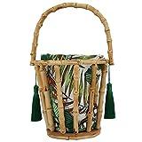 Andraw Valentine's Day Present Bambusrohr Quasten Tasche, Bambus gewebte Strand Reisetasche, neuartige einfache robuste langlebige für tägliche Kleidung Strand(Bamboo Bag)