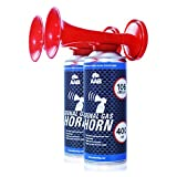AAB Signal Gas Horn 400 ml – Laut Air Horn 106 dB(A), Tröten Fußball, Lufthorn, Vuvuzela, Pressluft Gashupe, Drucklufthupe, Druckluftfanfare - Wertpaket 2 Stück