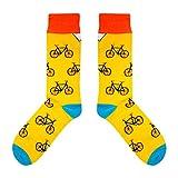 CUP OF SOX Baumwolle Lustige Socken in der Pappbecher - Perfekt als Geschenk für Männer und Frauen - Bikes/Fahrrad / Hipster, Gelb, 37-40