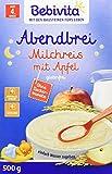 Bebivita Milchbreie ohne Zuckerzusatz Abendbrei Milchreis mit Apfel, Großpackung, 4er Pack (4 x 500 g)