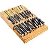 Utoplike Messerbänke Schubladeneinsätze Bambus Messerblock Organizer und Halterung, Passform für 16 Messer und 1 Wetzstahl