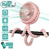Winique Kinderwagenlüfter, batteriebetriebene Autositze Clip-on-Lüfter Persönlicher USB-Tischlüfter Luftzirkulator Ultra Leiser 4-Gang 360 ° drehbarer Handventilator (pink)