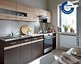 Küche 240cm von FIWODO® - ERWEITERBAR - günstig + schnell - Einbauküche Junona Line Set 240-4 Fronten wählbar (WENGE/Sonoma)