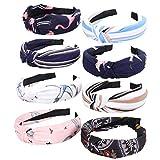 8 Stück zufällige Farben Stoff-Art-Haarreif Adorable Broadside Cross Knoten Haarband Haarschmuck für Frauen Mädchen