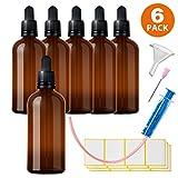 6x100ml Pipettenflasche Tropfflasche aus Braunglas Set - Dunkel kleine Glasgefäße als Apothekerflaschen Inklusive 16 Hilfszubehör