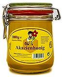 Echter Deutscher Imkerhonig im Honigtopf - Honig vom Imker aus Bayern (Akazienhonig 1000g) im wiederverwendbarem hochwertigem Bügelglas