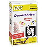 HG Duo-Rohrfrei, 2x 500 ml – Der Abflussreiniger für hartnäckige Verstopfungen im Abfluss Ihrer Küche, Ihres Spülbeckens oder des Badezimmers