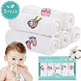 Baby Musselin Waschlappen, FUNCUBE 6-lagig, 100% Natürliche Baumwolle, Babytücher 12x12 in- Weiche, Flauschige, Atmungsaktive Waschlappen für Neugeborene, Ideal für Empfindliche Haut Kinder(5 Pack)